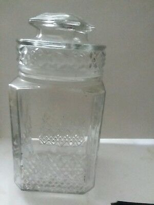 Vintage Large Koeze's Glass Apothecary Candy Cookie Jar Canister & Lid Seal