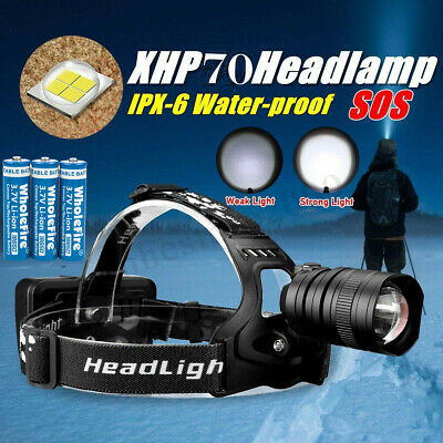 500000LM XHP 70 LED Headlamp Zoom USB Rechargeable 18650 Headlight Super Bright