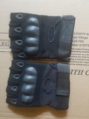 Airsoft Tactical Military Fingerless Gloves - black