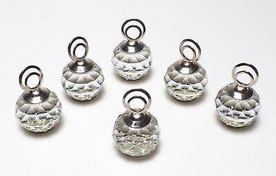 6-Swarovski Crystal Cal and Rhodium Small Place Card Holders