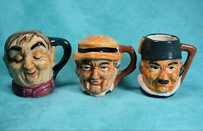 Vintage 60's Salt Pepper Toothpick holder Set Japan Ceramic Weathered Faces