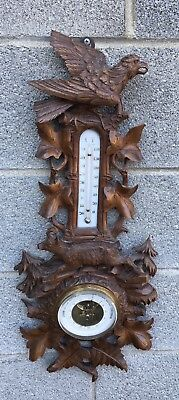 Victorian Carved German Black Forest Barometer