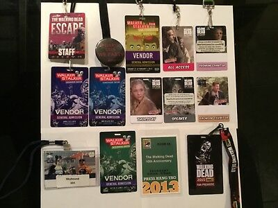 """Walker Stalker """"The Walking Dead"""" Thick Plastic Convention Pass Lot of 13"""