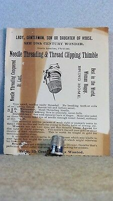 *1905* Needle Threading Thimble w/instruction sheet
