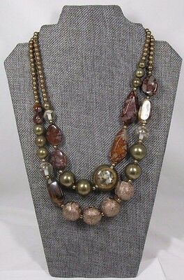 Vintage 2-Strand Mixed Media Necklace Marbled Clear Red Lucite Gold Faux Jasper