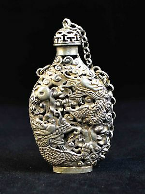 Ancient Tibetan Silver Chinese Hollow Dragon Statue Royal Incense Snuff Bottle