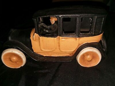 Vintage Arcade Yellow Taxi Cab Cast Iron Toy Car Collectible Antique With Driver