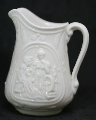 """#4 Antique Parian Ware English Pitcher Spinning Wheel Mother & Daughter  4"""""""