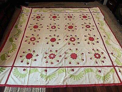 Antique Red and Green Appliqued Quilt Top