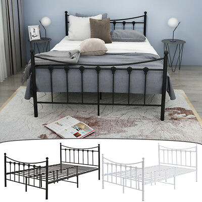 Metal Bed Frame 4FT 4FT6 Double in Strong Structure Bedstead Bedroom For Adult