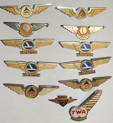 12 Rare Vintage Airline Service Pin/Wings: TWA, BOAC, Delta, Eastern, National