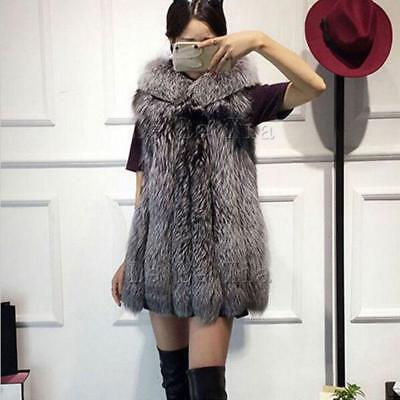 Fashion Faux Fur Coat Ladies Winter Vest Gilet Thick Warm Hooded Jackets New