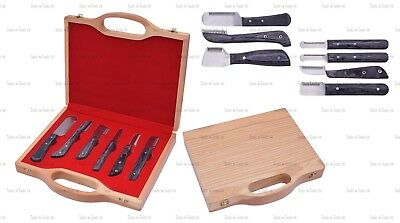 6 Piece Black Set Hand Stripping Knife Cat Dog Pet Grooming Comb Hair Wooden Box