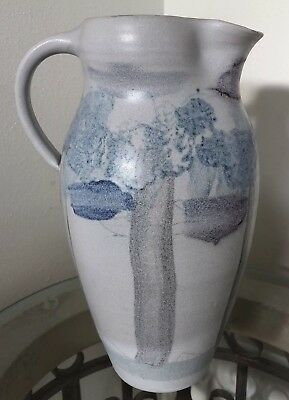 Art Pottery Water Pitcher STYLIZED TREES SUN Neutral Grey Blue Mauve Hand Thrown