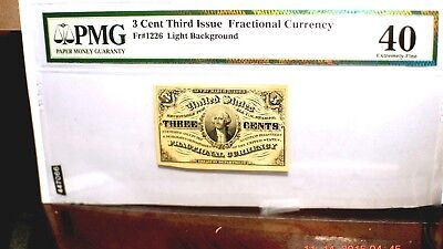 FRAN currency 3 Cent FR 1226 light background. 1863 Extremely Fine 40 FREE SHIP