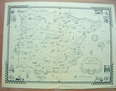 Ernest Dudley Chase, Spain Portugal Map, 19 x 25 inches,1935 black & white