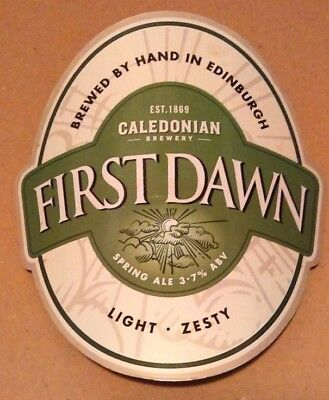 Beer pump badge clip CALEDONIAN brewery FIRST DAWN cask ale pumpclip front