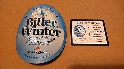 Beer pump badge clip CALEDONIAN brewery BITTER WINTER ale pumpclip front NEW