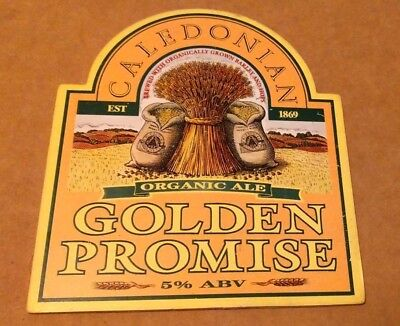 Beer pump badge clip CALEDONIAN brewery GOLDEN PROMISE real ale pumpclip front