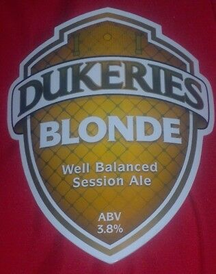 Beer pump badge clip DUKERIES brewery BLONDE cask ale curved pumpclip front