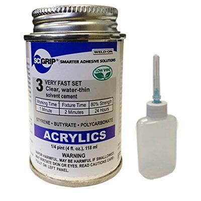 IPS Weld-On 3 Acrylic Plastic Cement with Weld-On Applicator Bottle with Need...