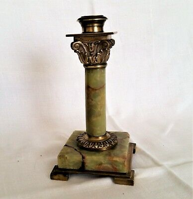 Antique French Renaissance Bronze Onyx Candle Holder Roman Corinthian Column