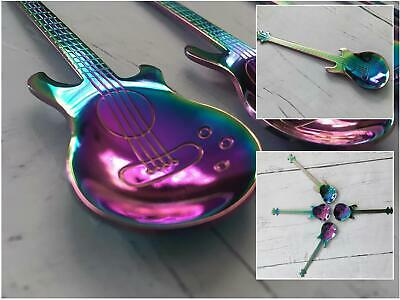 Iridescent  Guitar Teaspoon Music Musician Rainbow Unicorn Kitchen Spoon Cutlery