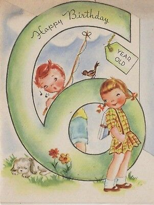 Vintage Birthday Card6 Years Old Boy GirlDelray Of Boston1930s