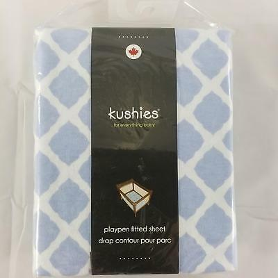 Kushies Cotton Flannel Playpen Fitted Sheet - Blue Lattice Pattern 29x42 Inches