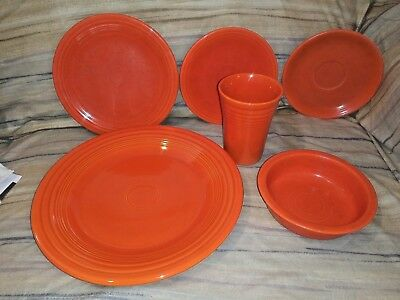 Mixed Lot Of Four  Vintage Fiestaware Bowl Saucers Persimmon Orange