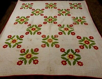 Antique Lovely Red Green and Yellow Quilt