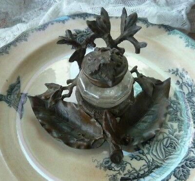 Stunning Antique French Art Nouveau Bronze Inkwell, Branch And Foliage Design