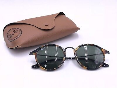 4b46a2d69a AUTHENTIC Ray-Ban RB2447 1157 TORTOISE  BLACK ROUND FLECK  GREEN CLASSIC G-