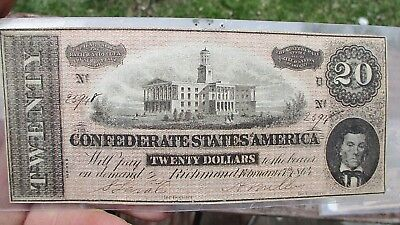 Civil War Era 20.00 $ Confederate States Of America Bank Note Estate Coll.