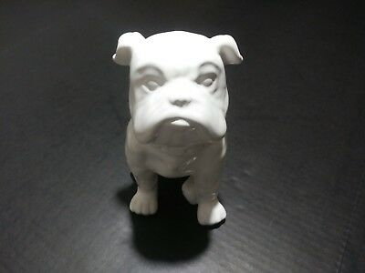 English Bulldog White Porcelain Art Dog Figurine Statue 8""