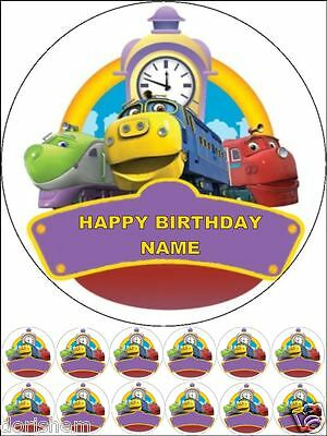 """Edible Round 7,5"""" Chuggington Birthday Cake Topper And 12 Cupcakes Toppers"""