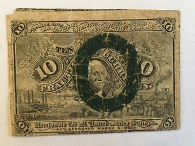 1863 US 10 Cent Currency Fractional Note.- George Washington on Front
