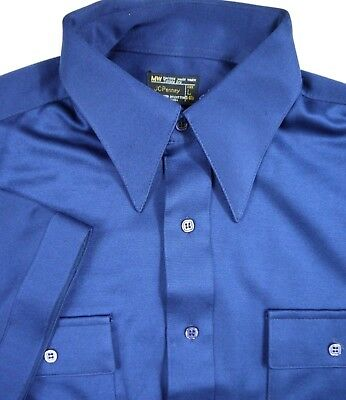 VINTAGE 70s JC PENNEY shirt mens polyester DISCO BOWLING rockabilly ss collar L