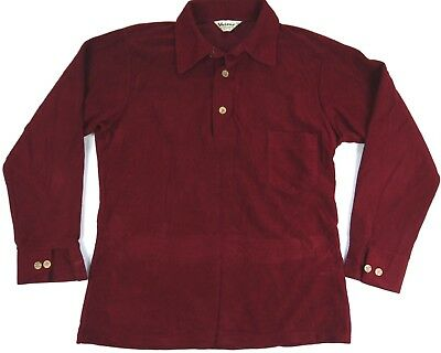 VINTAGE 70s FUNKY DISCO shirt VELOUR RED ls polo mens M retro mod