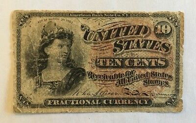 1863 United States 10 Cent Fractional Currency  Bust Of Liberty Note