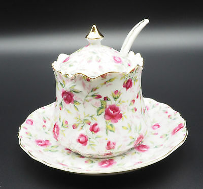 Vintage Estate Lefton's Sugar Bowl on a Saucer With Lid and Spoon in Pink Rose