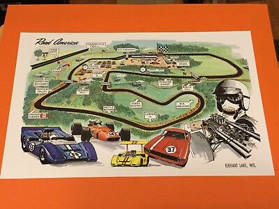 1969 Road America Track Map Auto Racing Poster Elkhart Lake