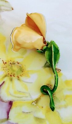 Vintage Enamel Yellow Rose Bud stem Brooch Pin