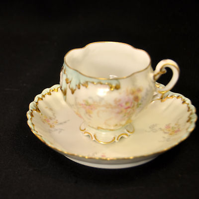 Limoges MR Martial Redon Footed Cup & Saucer 1882-1890 Pink Yellow Green w/Gold
