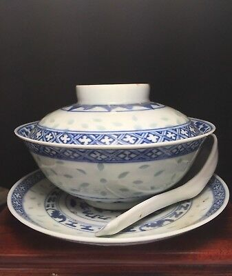 Antique Old Chinese Blue White Porcelain Covered Bowl w/Saucer/Spoon early 19thc