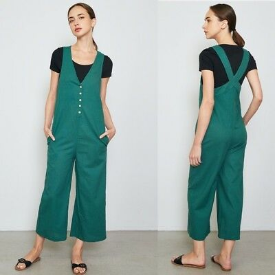 eb4c211f9b50 NWT Boutique Women s Wide Leg Linen Overall Jumpsuit Ankle Crop Small S