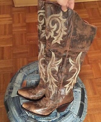 f88146914f6 NWB Dan Post Western Women s Boots Jilted Over The Knee Snip Toe Brown ...