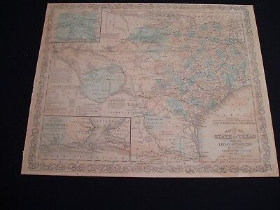 1856 Charles Desilver Map State of Texas Rare Genuine Antique Counties Forming