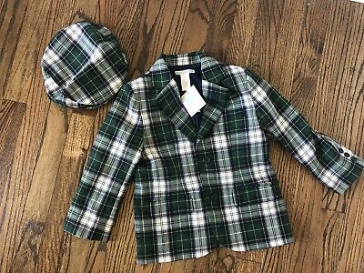 NEW Janie and Jack TARTAN SOPHISTICATION Sz 4 Plaid Holiday Suit Blazer Coat Hat