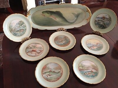 Stunning Antique Limoges Hand Painted Fish Platter with 7 Matching Plates